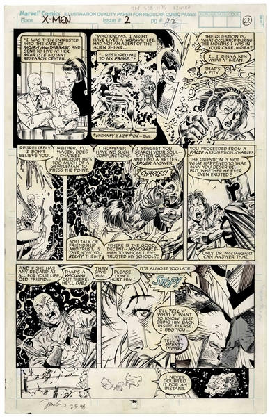 ''X-Men'' Comic Strip, Issue #2 Hand-Drawn by Jim Lee & Inked by Scott Williams -- Featuring Magneto, Professor X and Moira MacTaggart on Asteroid M