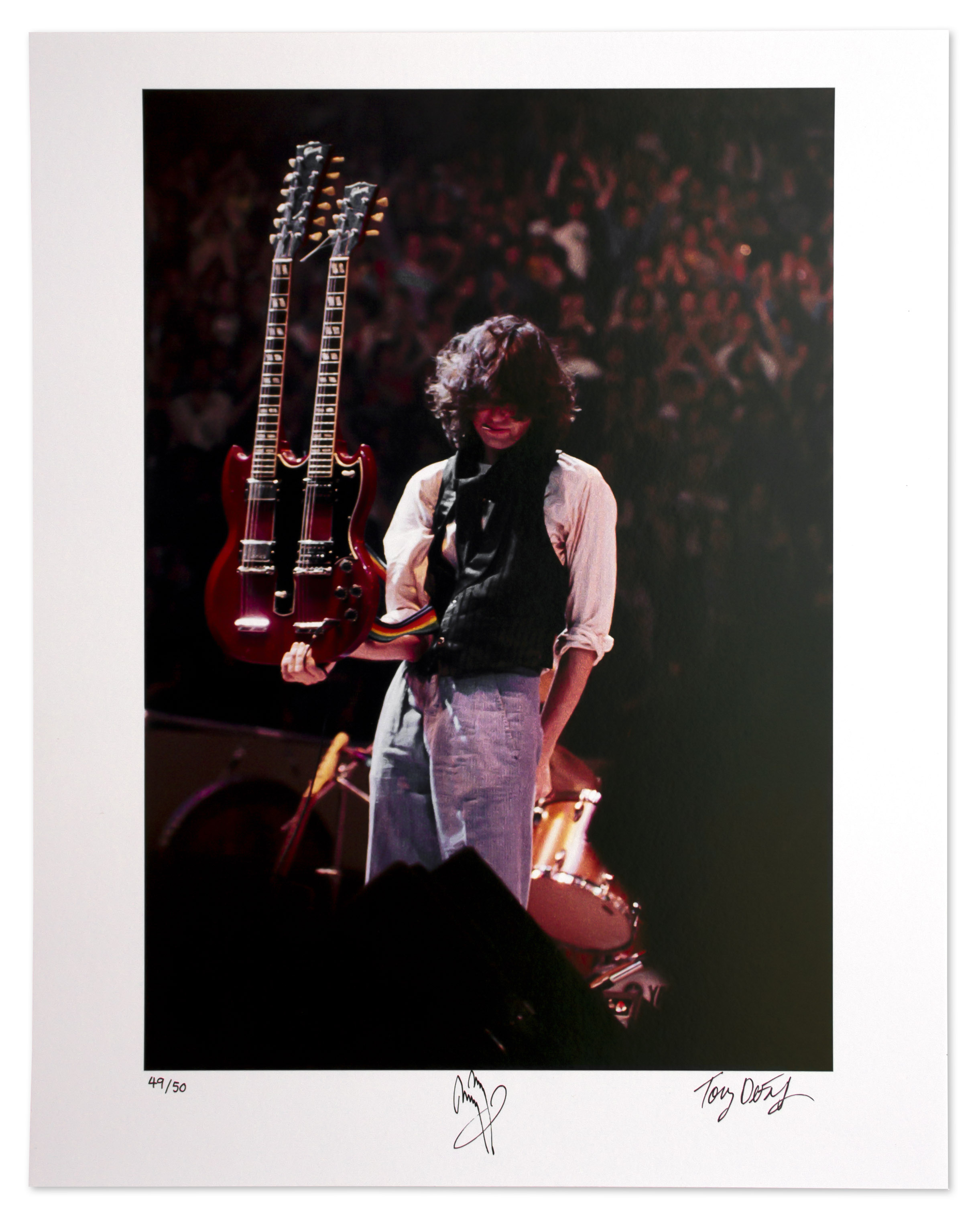 lot detail jimmy page signed limited edition 16 39 39 x 20 39 39 photo holding his double necked. Black Bedroom Furniture Sets. Home Design Ideas