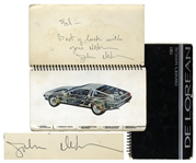 John DeLorean Signed Owners Manual for the Iconic DMC-12