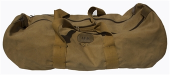 John F. Kennedys Monogrammed Duffel Bag -- With Jackies Identification Card Used for Traveling