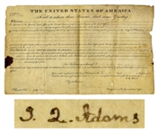 John Quincy Adams Land Grant Signed as President