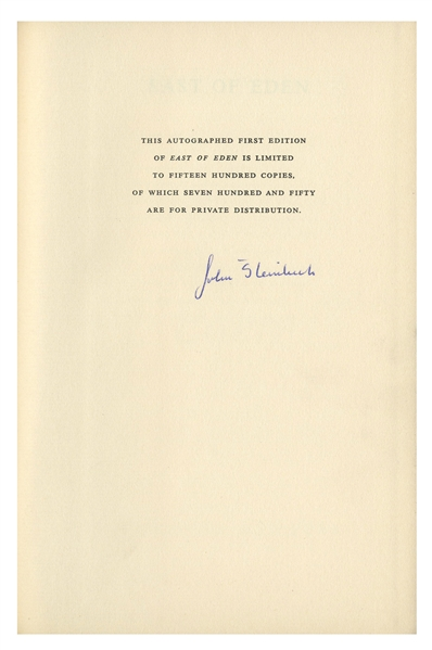 John Steinbeck Signed ''East of Eden'' First Limited Edition in Original Slipcase -- Near Fine