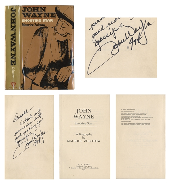 John Wayne Signed Biography ''John Wayne / Shooting Star'' -- ''...Without my permission but good reading for gossips...''