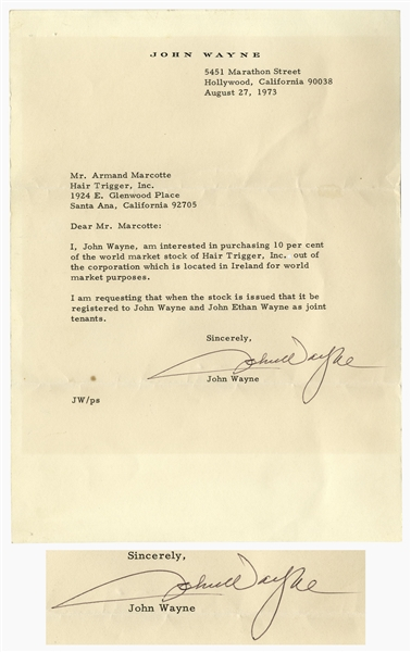 John Wayne Letter Signed, Where He Seeks to Purchase 10% of the Stock for Hair Trigger, Inc., the Company Endorsed by Wayne