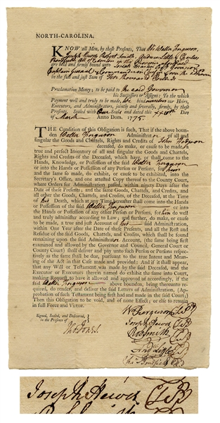 One of the Rarest Declaration of Independence Signers, Joseph Hewes Document Signed