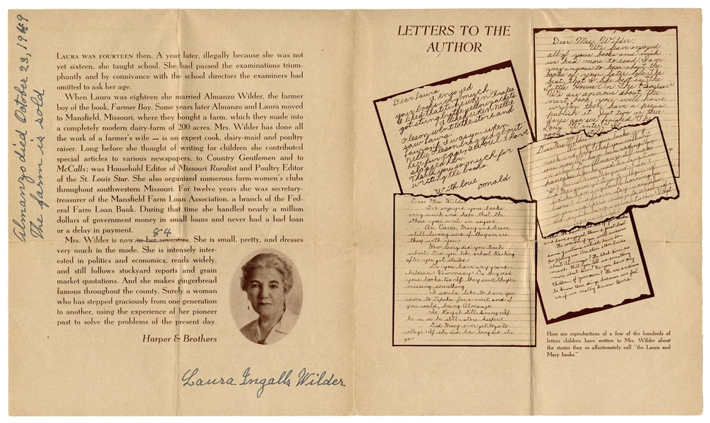 Laura Ingalls Wilder Signed Brochure, With Handwritten Note -- ''The farm is sold''