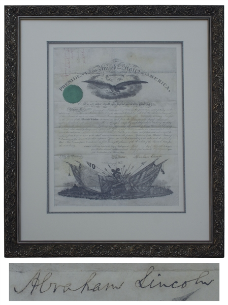 Abraham Lincoln Civil War Military Commission Signed as President -- With Full ''Abraham Lincoln'' Signature