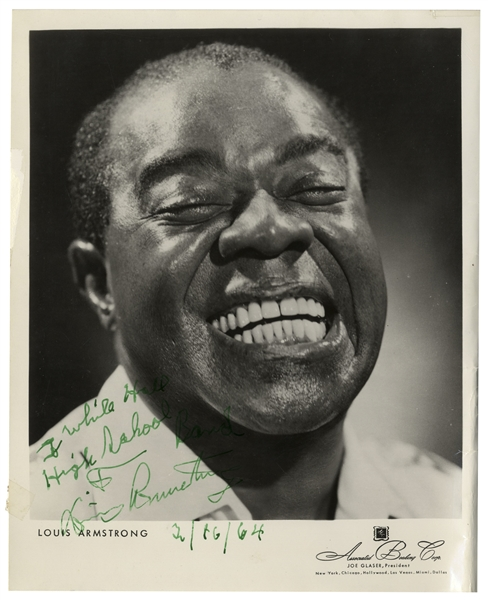 Louis Armstrong Signed 8'' x 10'' Photo of His Iconic Smile