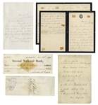 First Lady Lucretia Garfield Lot of Signed items -- Two Autograph Letters Signed, Check Signed & Signed List of School Supplies -- ...Through them their Father speaks to me again...