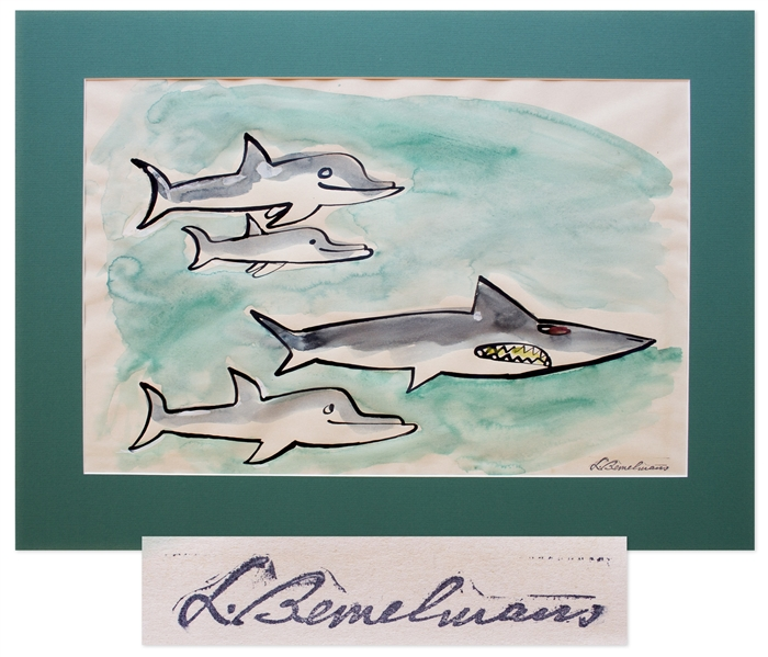 Ludwig Bemelmans Watercolor From ''Marina'', Measuring 24'' x 16.5'' -- Featuring the Shark Who Swallows Marina & the Porpoises Who Save Her