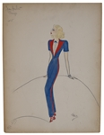 Sketch of Jean Harlow by the Famed MGM Costume Designer Dolly Tree