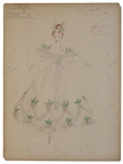 Adrian Greenberg Costume Sketch for The Gorgeous Hussy -- Adrian Would Famously Design the Ruby Slippers for The Wizard of Oz