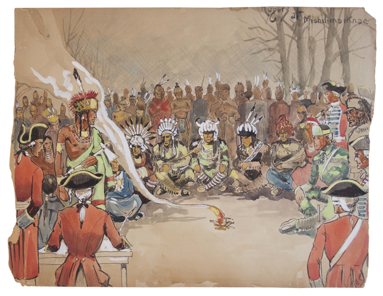 Conceptual Art From the 1940 Film ''Northwest Passage'' -- Showing a Native American Tribe Meeting With the British Army