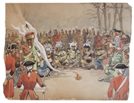 Conceptual Art From the 1940 Film Northwest Passage -- Showing a Native American Tribe Meeting With the British Army