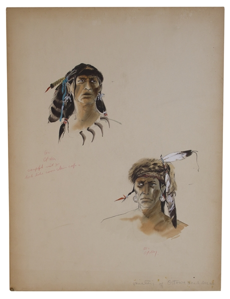 Hollywood Conceptual Art for ''Ottawa Head dress'' Costumes -- Possibly for the 1940 Film ''Northwest Passage''