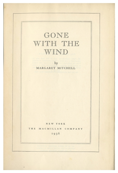 Margaret Mitchell Signed First Edition, First Printing of ''Gone With The Wind'' -- With University Archives COA
