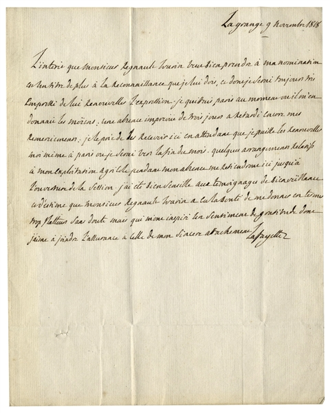 Hero of the Revolutionary War, Marquis de Lafayette Autograph Letter Signed