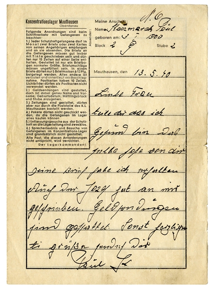 Mauthausen Concentration Camp Letter From 1940