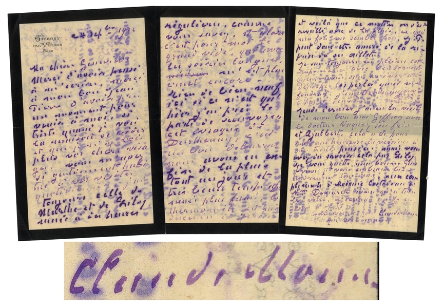 Claude Monet Autograph Letter Signed -- ''...thanks to my good Jean Pierre for having taken a moment to come to visit me...This was a cheerful distraction from my usual sad thoughts...''