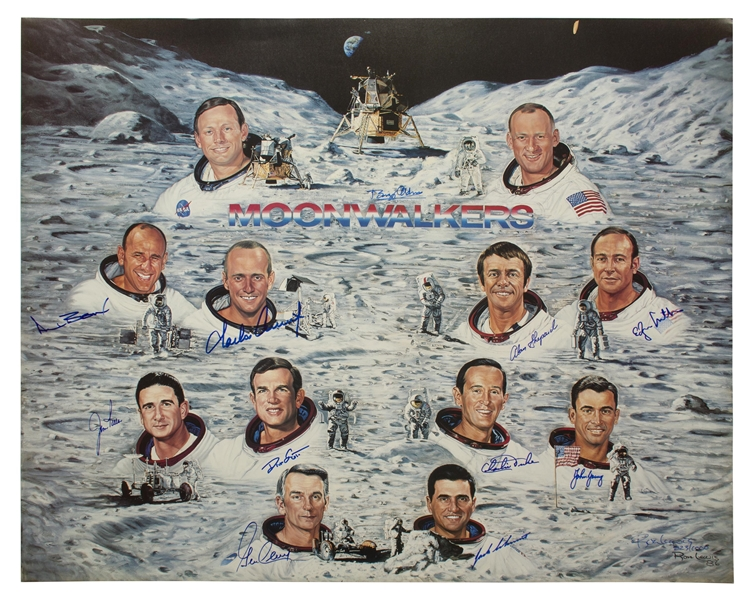 Huge Lithograph Signed by All But One of the Apollo Moonwalkers
