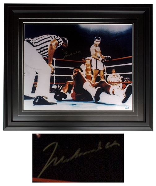 Muhammad Ali Signed 20'' x 16'' Photo After Knocking Out George Foreman in Round 8 of ''Rumble in the Jungle'' -- With Mounted Memories COA