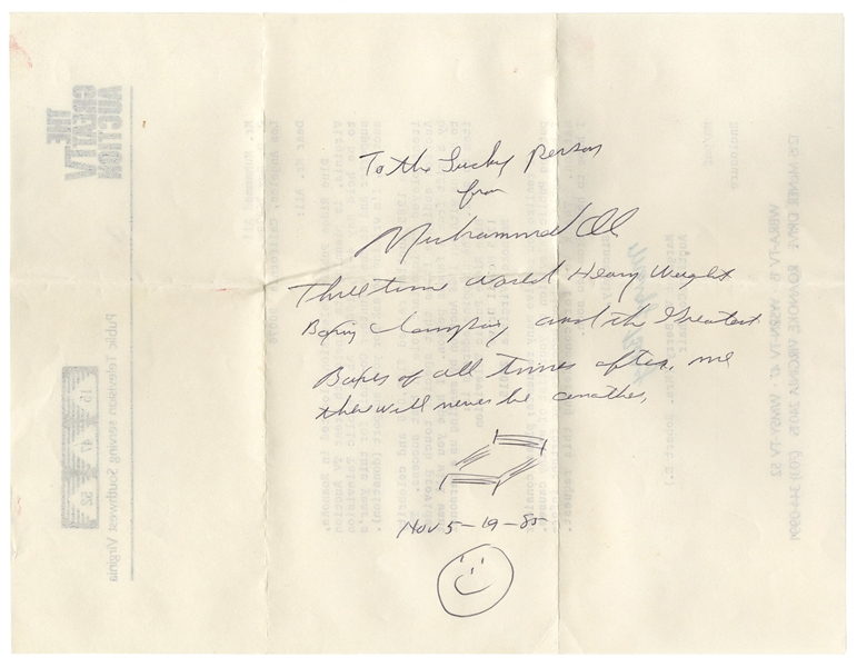 Muhammad Ali Autograph Note Signed -- ''To the lucky person from Muhammad Ali...there will never be another''