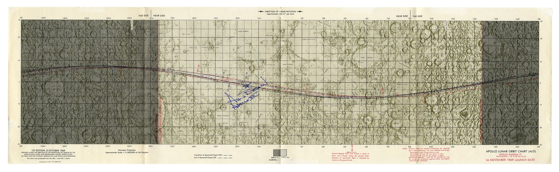 Alan Bean Signed Apollo Lunar Orbit Chart for the Apollo 12 Mission
