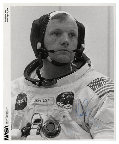 Neil Armstrong Signed 8'' x 10'' Photo -- Candid Photo of Armstrong in His White Spacesuit on Apollo 11 Launch Day -- With Steve Zarelli COA