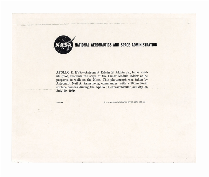 Neil Armstrong Signed 10'' x 8'' Photo Stepping Onto the Moon -- Uninscribed