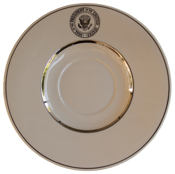 Tea Cup & Saucer From the Johnson, Nixon & Ford White Houses -- Rimmed in Silver & Likely Used on AF1
