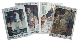 Norman Rockwells Original 1943 Four Freedoms Poster Set -- Each Measures 40 x 56