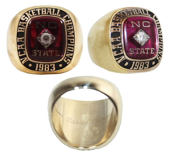 1983 North Carolina State NCAA Basketball Championship 10kt Ring -- From Wolfpack Player Harold Thompson for What's Considered the Best College Basketball Championship Game Ever Played