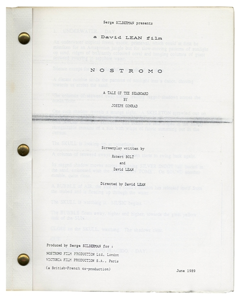 David Lean Script ''Nostromo'' -- Lean's Last Script From 1989 & the Project He Was Developing When He Died