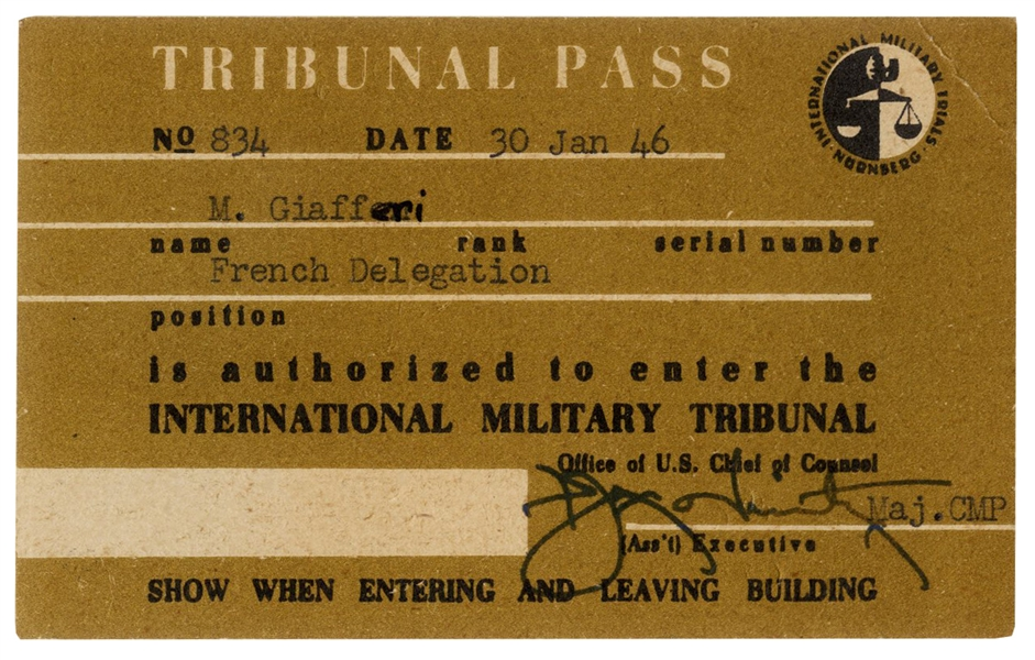 Nuremberg Trial Pass -- Issued in January 1946 for the International Military Tribunal Trial That Prosecuted the 24 Most Notorious Nazis