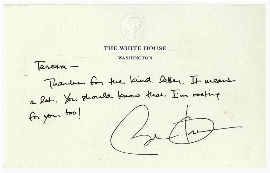 Barack Obama Autograph Letter Signed as President -- ''...I'm rooting for you too!...'' -- Also With Barack Obama Signed 10'' x 8'' Photo