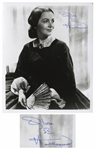 Olivia de Havilland Signed 8 x 10 Photo as Melanie From Gone With the Wind -- With JSA COA