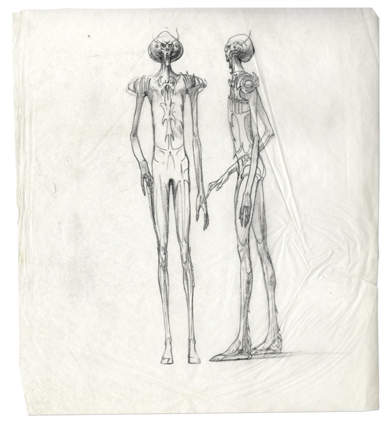 Alien Concept Original Drawings by Famed Artist Ralph McQuarrie -- 52 Sheets With Dozens of Drawings