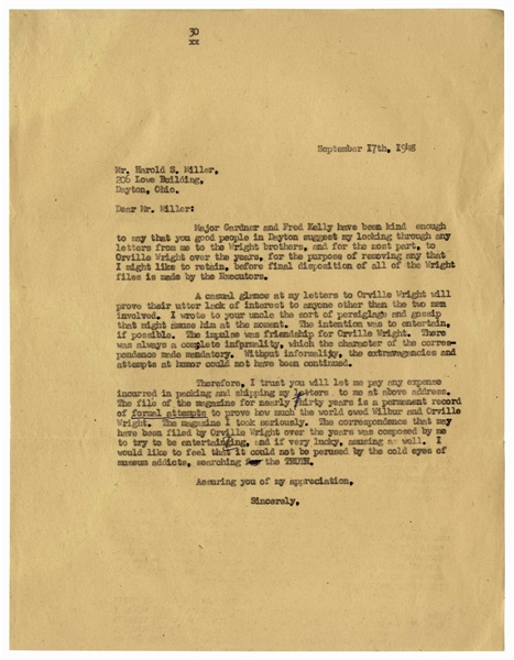 Orville Wright's Secretary Chastises the Smithsonian Regarding Its Display of the Kitty Hawk -- ''...I am beginning to think it would have been better to have left the machine in England...''