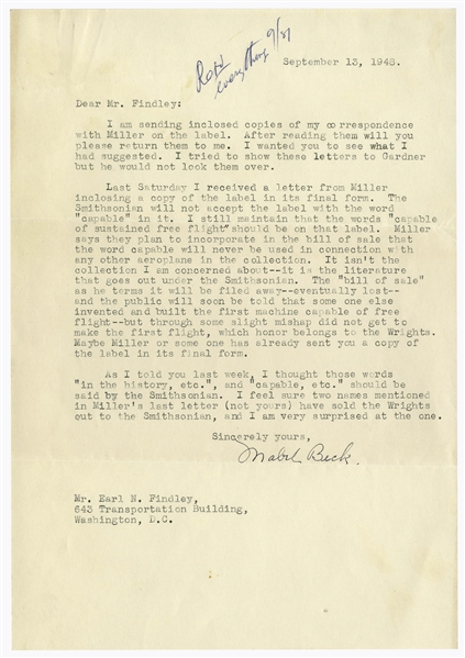 Orville Wright's Secretary Argues With the Smithsonian Regarding the Infamous Label to Display the Kitty Hawk -- ''...the words 'capable of sustained free flight' should be on that label...''