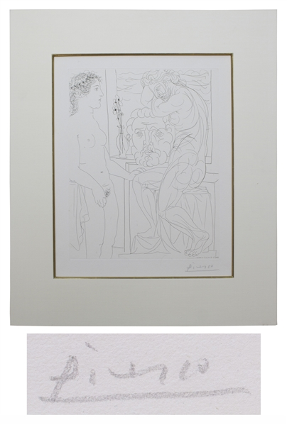 Pablo Picasso Signed ''Modèle nu et Sculptures'' Etching -- From the Desirable Vollard Suite of Etchings