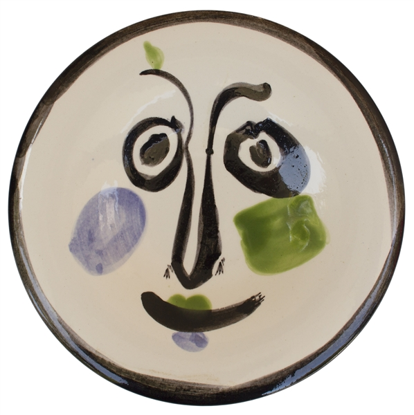 Pablo Picasso ''Visage no. 197'' -- Playful Ceramic Created at the Madoura Pottery Studios
