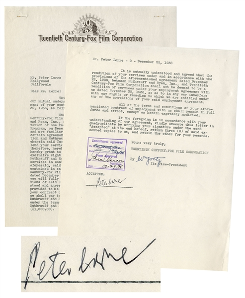 Peter Lorre Contract Signed With 20th Century-Fox From 1938