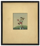 Pinocchio Animation Cel From the 1940 Disney Classic Film, Showing Pinocchio Holding the Apple for His Teacher -- With Hand Painted Set-up by Courvoisier
