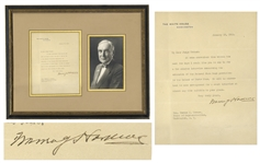 Warren Harding Letter Signed as President Concerning...the Island of Porto Rico...