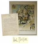Prince Valiant Limited Edition Color Lithograph Signed by Hal Foster -- Along With Typed Letter Describing the Origins of Prince Valiant