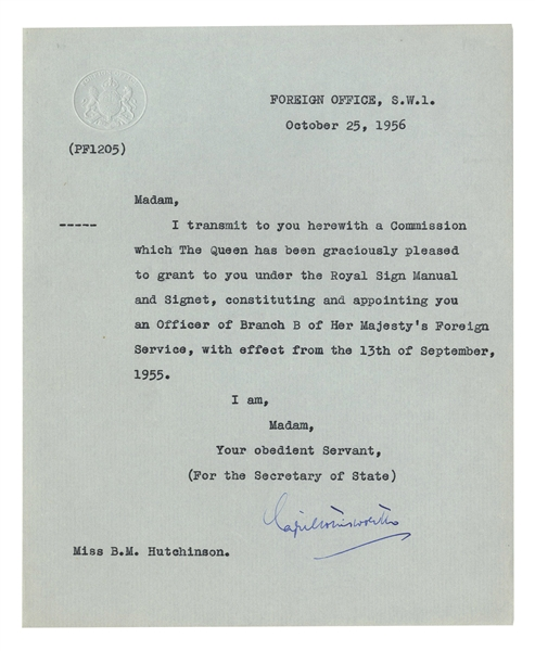 Queen Elizabeth II Diplomatic Commission Signed