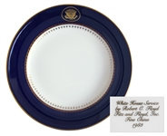 Ronald Reagan Presidential China Dessert BOwl -- Beautiful Design in Navy and Gilt