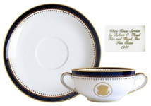 Ronald Reagan Presidential China Soup Bowl Set -- Beautiful Design in Navy and Gilt