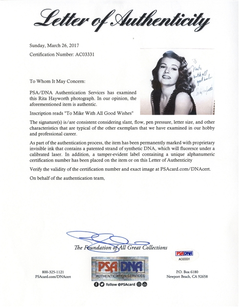 Rita Hayworth Signed 8'' x 10'' Photo, Beautifully Matted in Moire Silk -- With PSA/DNA COA