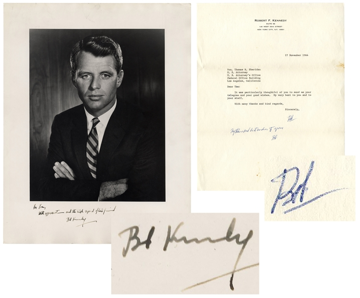 Robert Kennedy Signed 10'' x 12'' Photo & Letter Signed, With Additional Autograph Note Signed -- From November 1964 After He Won Election as New York Senator